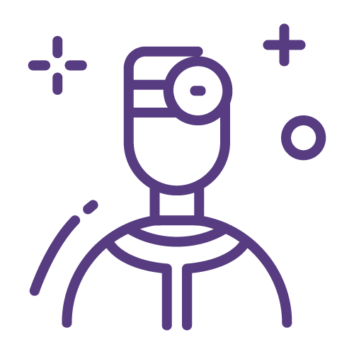 Purple line icon of a doctor