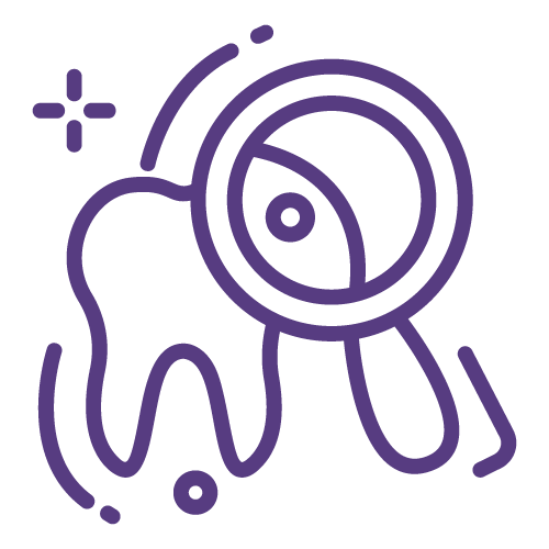 Purple line icon of a tooth getting a close up examination