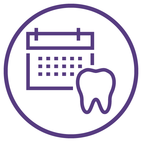 Purple Icon of a tooth with a calendar on the background