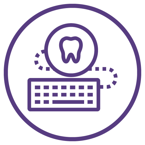 Purple icon of a keyboard directing to a tooth