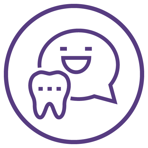 Icon of a chat box with a happy face with a tooth in front