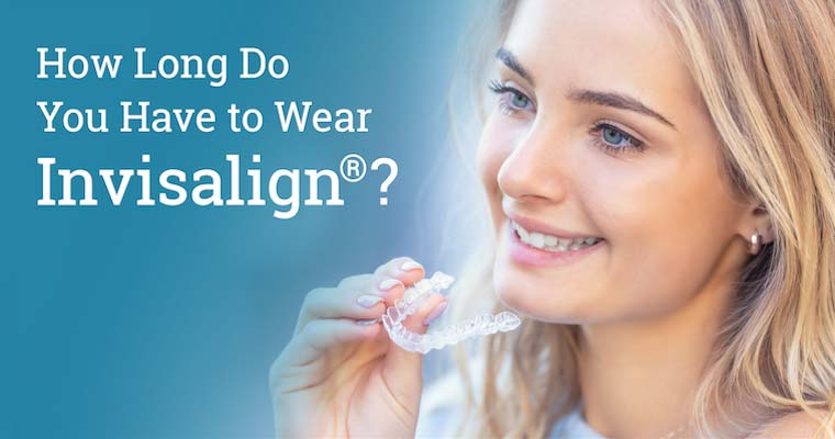 "Young blond woman holding Invisalign aligners with text on image: ""How Long Do You Have to Wear Invisalign?"""