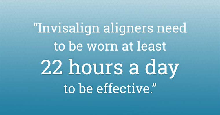 "Quoted text: ""Invisalign aligners need to be worn at least 22 hours a day to be effective."""